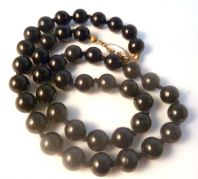 Vintage Black Glass Bead Hand Knotted Necklace.